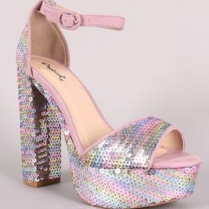 Hologram Sequin Platform Heeled Sandals